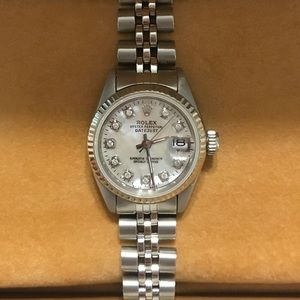 Rolex date-just Oyster mother of pearl watch.